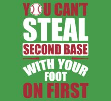You can't steal second base with your foot on first - Red Blue Kids Tee