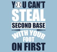 You can't steal second base with your foot on first - red/blue Kids Tee