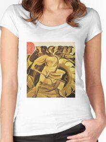 bread for us cccp sssr soviet union political propaganda revolution poster sculpture Women's Fitted Scoop T-Shirt