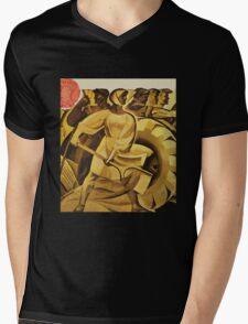 bread for us cccp sssr soviet union political propaganda revolution poster sculpture Mens V-Neck T-Shirt