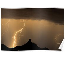 Lightning Strikes - Pinnacle Peak Poster