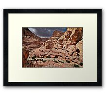 rock landscape with simple tombs in Petra Framed Print