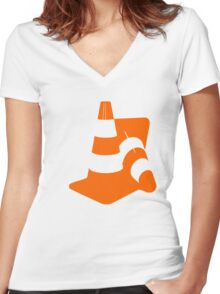Traffic cones two safety pylons markers Women's Fitted V-Neck T-Shirt