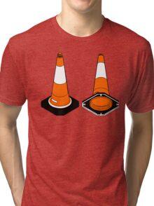 orange and black Traffic cones safety pylons Tri-blend T-Shirt