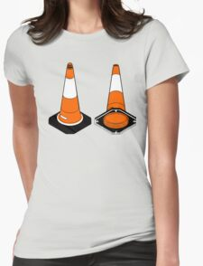 orange and black Traffic cones safety pylons Womens Fitted T-Shirt