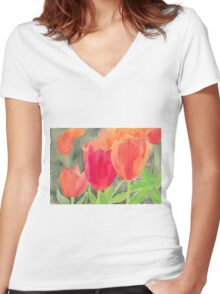 Orange And Red Tulips Women's Fitted V-Neck T-Shirt
