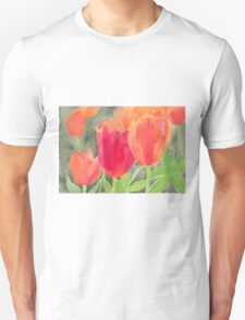 Orange And Red Tulips Unisex T-Shirt