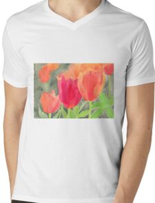 Orange And Red Tulips Mens V-Neck T-Shirt