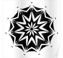Black on White Kaleidoscope Poster