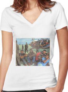 Refugee Boat Women's Fitted V-Neck T-Shirt