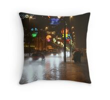 Rainy night in Blackpool Throw Pillow