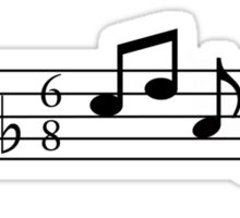 Treble and Bass Clef Heart Bar of Music Sticker
