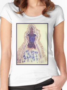 Black and Blue dress Women's Fitted Scoop T-Shirt