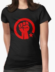 Socialist Raised Fist and Star Womens Fitted T-Shirt