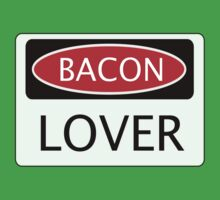 BACON LOVER, FUNNY DANGER STYLE FAKE SAFETY SIGN One Piece - Short Sleeve