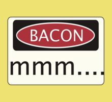 BACON mmm...., FUNNY DANGER STYLE FAKE SAFETY SIGN Kids Clothes