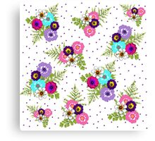 Pretty Posies Of Colorful Spring Flowerrs Canvas Print