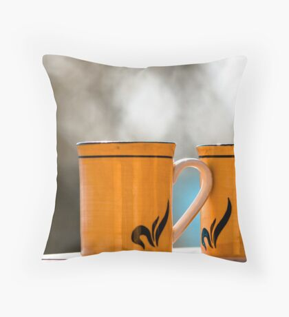 A cup of coffee shared with a friend is happiness tasted and time well spent. Throw Pillow