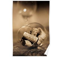 Glass of wine with cork Poster