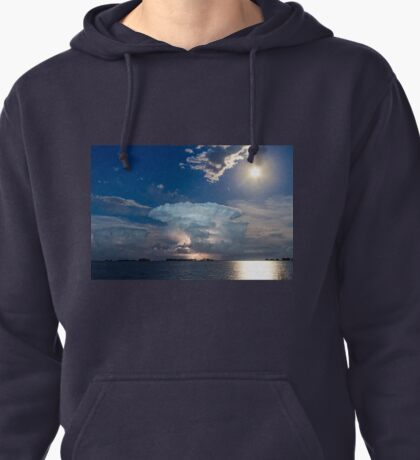 Lightning Striking Storm and Full Moon Bright Pullover Hoodie