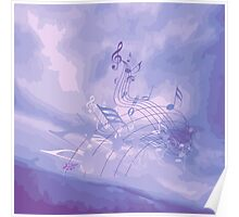 Purple Music Notes Abstract  Poster