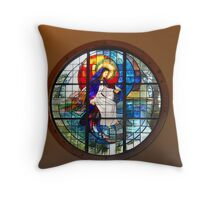 Our Lady of the Lake Stained Glass Throw Pillow