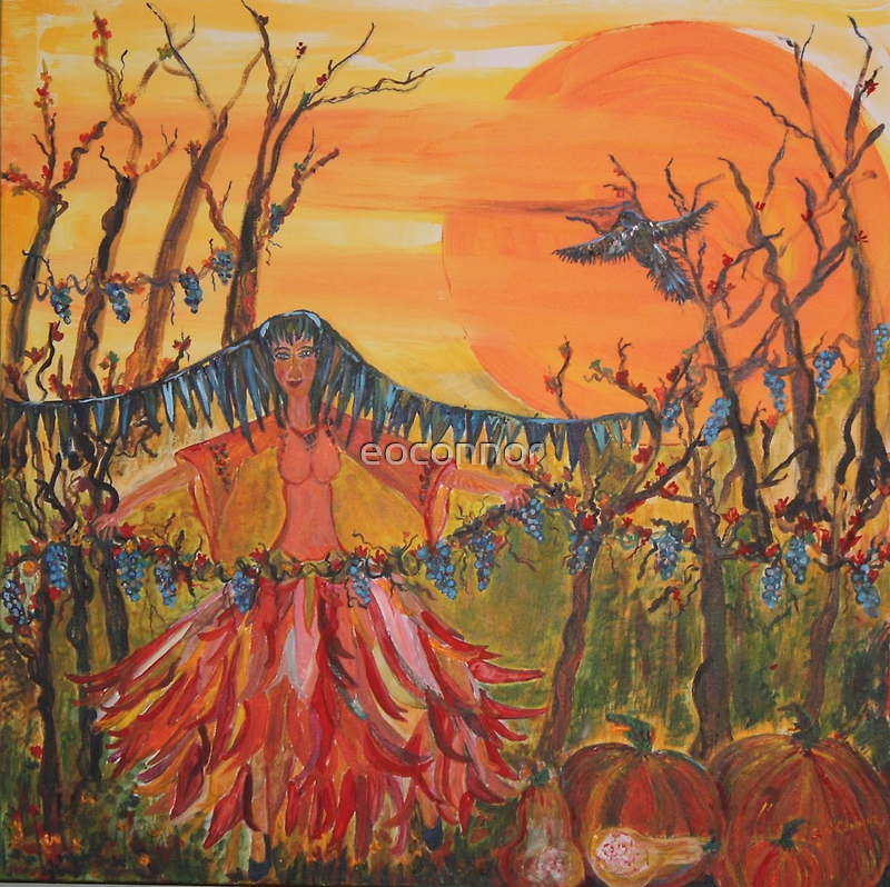 Raven Dance in Harvest Moon 24x24 acrylic on wrapped canvas. by eoconnor