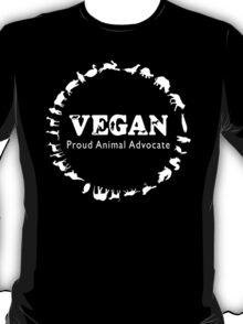 Vegan, Proud Animal Advocate white T-Shirt