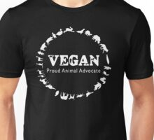 Vegan, Proud Animal Advocate white Unisex T-Shirt