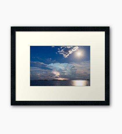 Lightning Thunderstorm Cell and Moon Framed Print