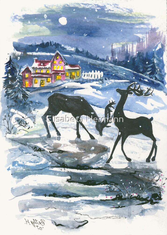 Winter Scene No. 2 - Season's Greetings by Elisabeta Hermann