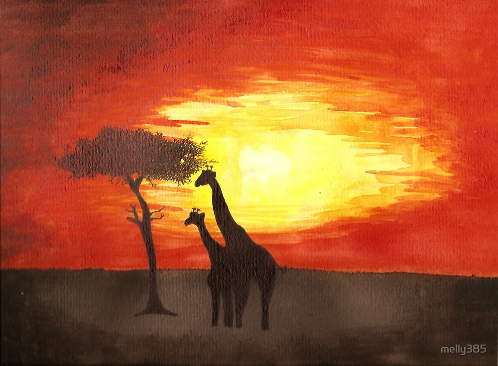 Giraffe Silhouettes by melly385