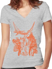 pterodactyl pilot Women's Fitted V-Neck T-Shirt
