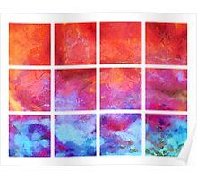 Water Fire Abstract Grid Poster
