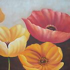 Orange, Red, Colorful Decoration Flower Group Paintings by diasha