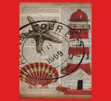 shabby chic vintage sea shells nautical lighthouse  Kids Tee