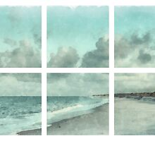 Sanibel Island Bowman Beach Watercolor Grid by Edward Fielding