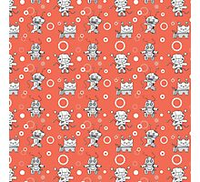 Pattern with robots. Photographic Print
