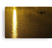 On Golden Pond, You Must Row Towards The Light Canvas Print