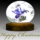 Happy Xmas Purple Flowers Snowscape 1 by davesphotographics