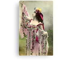 Vintage *Beautiful Bell and Her Flowers* Canvas Print
