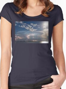 Lake Side Storm Watching Women's Fitted Scoop T-Shirt