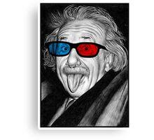Albert Einstein 3d Glasses Piercing Canvas Print