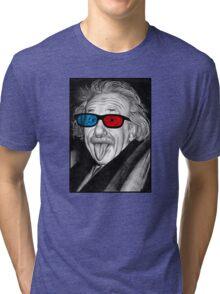 Albert Einstein 3d Glasses Piercing Tri-blend T-Shirt