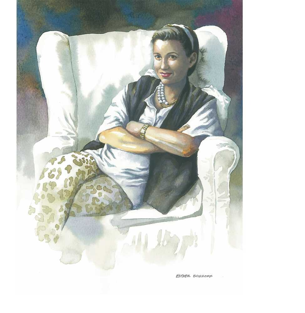 Portrait of Sue S. in white chair by Esther Boshoff