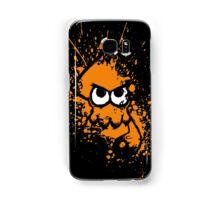Splatoon Black Squid with Blank Eyes on Orange Splatter Mask Samsung Galaxy Case/Skin
