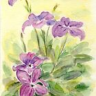 Purple Flowers by Caroline  Lembke