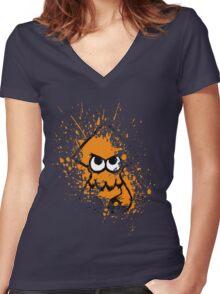 Splatoon Black Squid with Blank Eyes on Orange Splatter Mask Women's Fitted V-Neck T-Shirt
