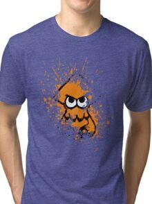 Splatoon Black Squid with Blank Eyes on Orange Splatter Mask Tri-blend T-Shirt