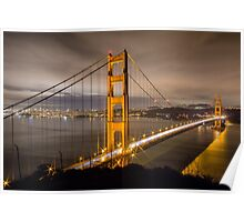 Capturing Golden Gate Bridge in the Night Poster